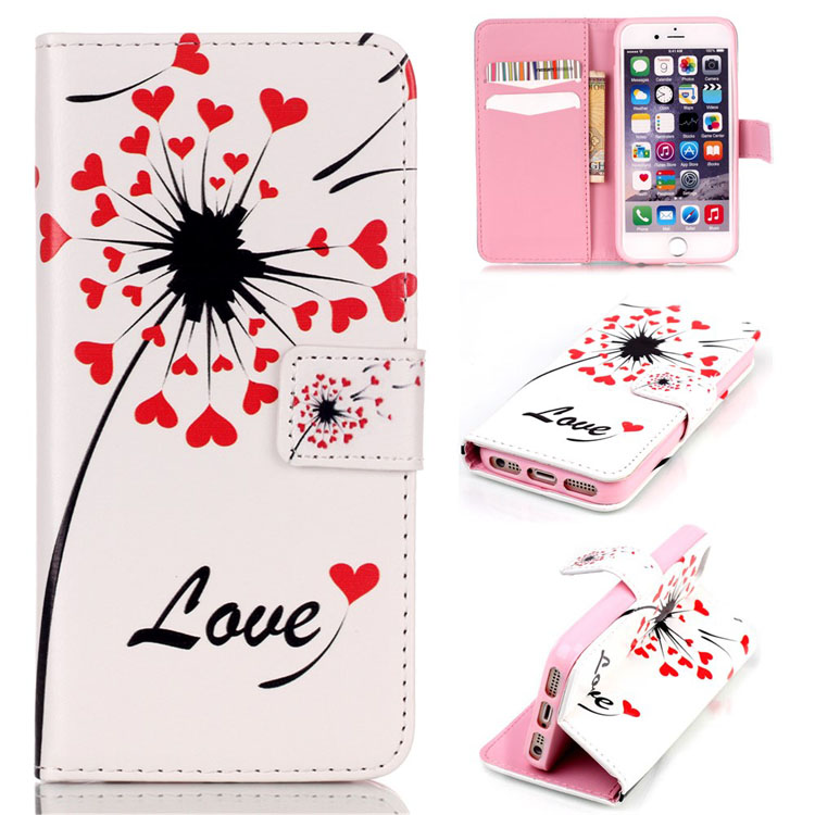 Leather Case for iPhone 5 5s se 5g i5 telefono movil Cute Lovely children Butterfly design stand wallet pouch sleeve(China (Mainland))