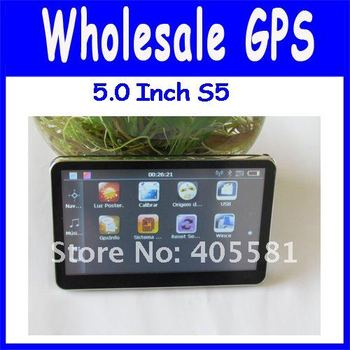 Factory price 5 inch with FM,and built-in 4GB memory with latest map,1 year warranty,cheap gps without  av-in,bluetooth
