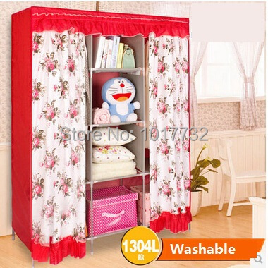 New 130*45*172cm Washable cotton flannel big wedding folding red wardrobe bedroom furniture closet for clothes cabinet baby home(China (Mainland))