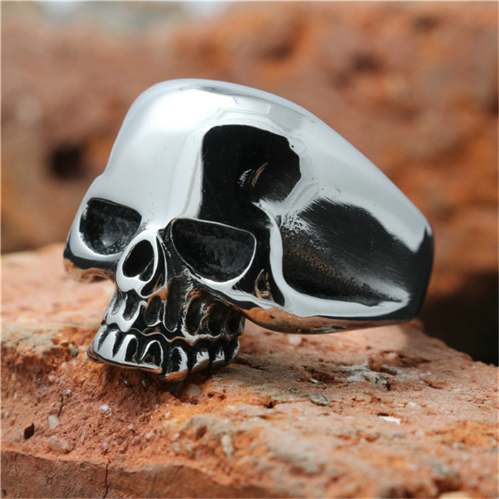 1pc Lastest Design !! Hot Mens Boy Skull Head Ring 316L Stainless Steel Punk Style Ring(China (Mainland))
