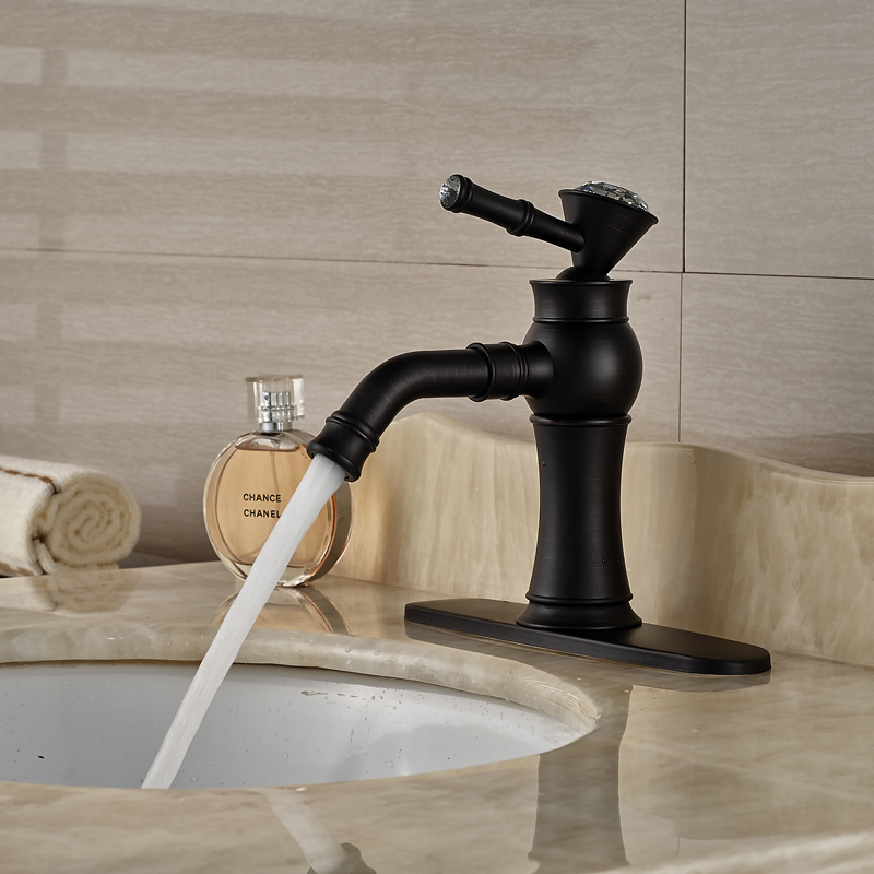 "Фотография Luxury OIl Rubbed Bronze Bathroom One Handle Basin Sink Mixer Faucet with 8"" Hole Cover"