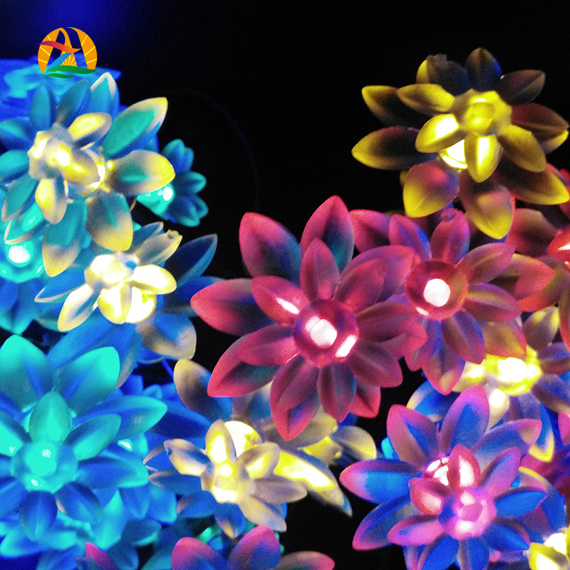 12M 100LED Garden Waterproof Lotus Solar LED String Lights Garlands Party Holiday Wedding Hotels Bars Parks Decoration Lightings(China (Mainland))