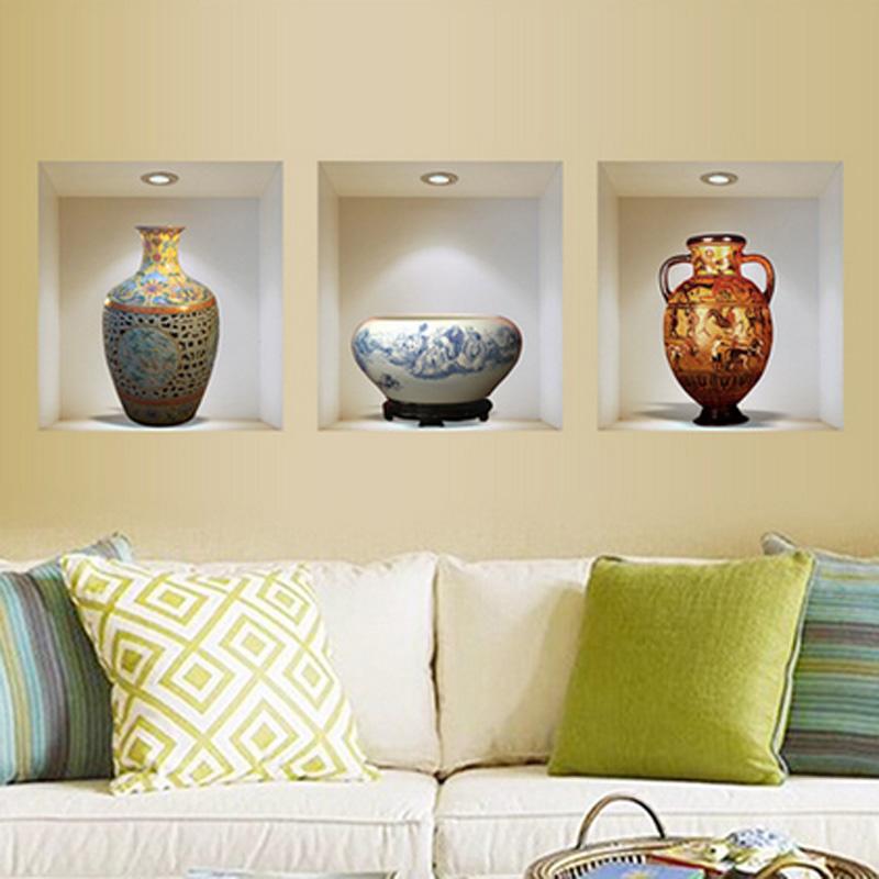 Vase vinyl wall stickers home decor living room sitting for Room decor 5d wall stickers