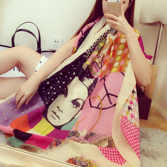 Шарф люксовый бренд 2016 Echarpes Foulards роковой шарф женщины хлопок пашмины пончо ...