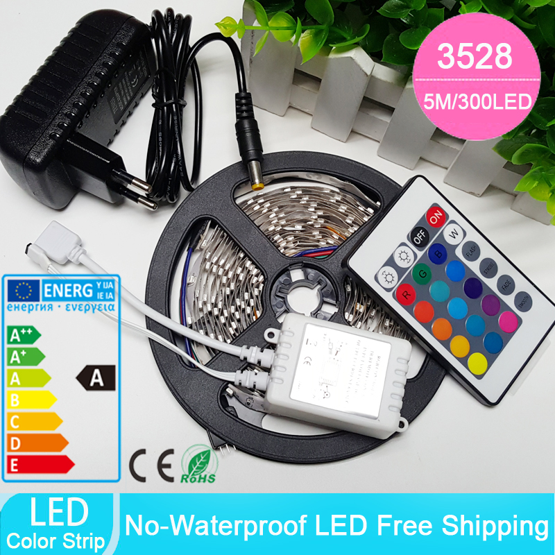 Non-waterproof RGB Led Strip Light 5M 300Leds 3528 DC12V Flexible Lighting String Ribbon Tape Lamp Home Decoration Lamp(China (Mainland))