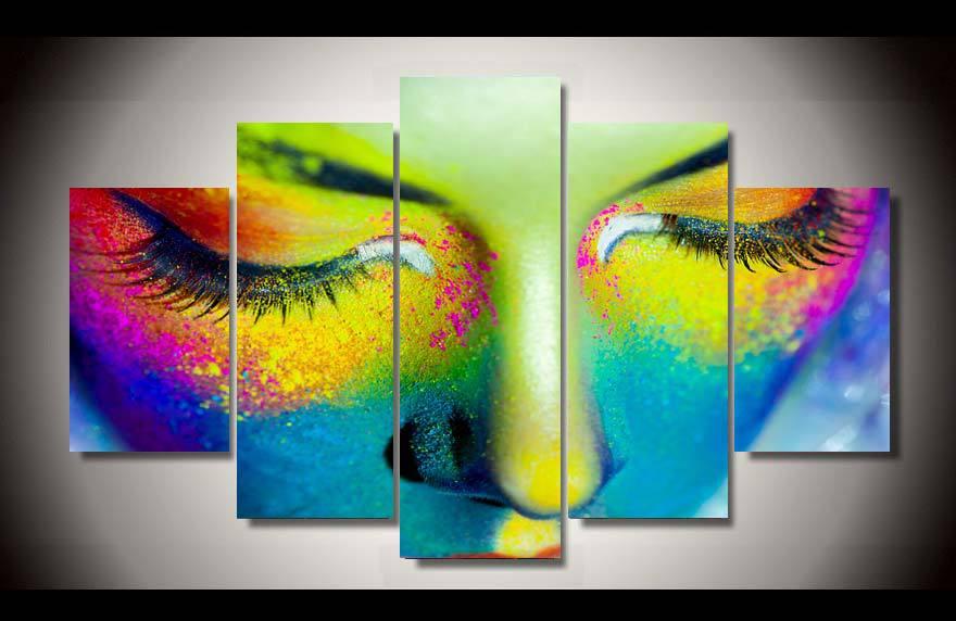 Incorniciato stampato ragazza di colore faccia 5 pz immagine pittura di arte della parete arredamento della camera dei bambini poster tela trasporto libero/up-919(China (Mainland))