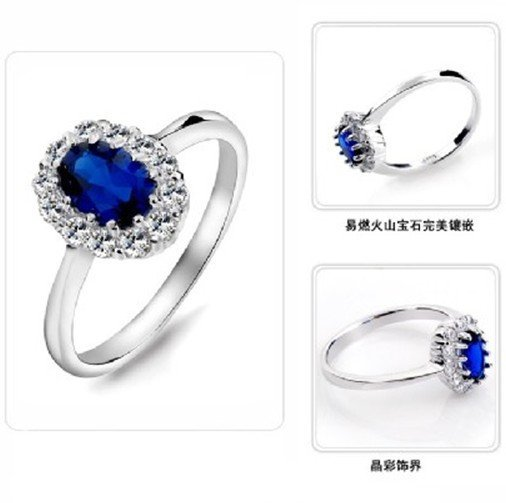 Prince William Gives Kate engagement ring replica / Valentine Day Gift Princess Kate Middleton Royal Sapphire Wedding Ring 1pcs