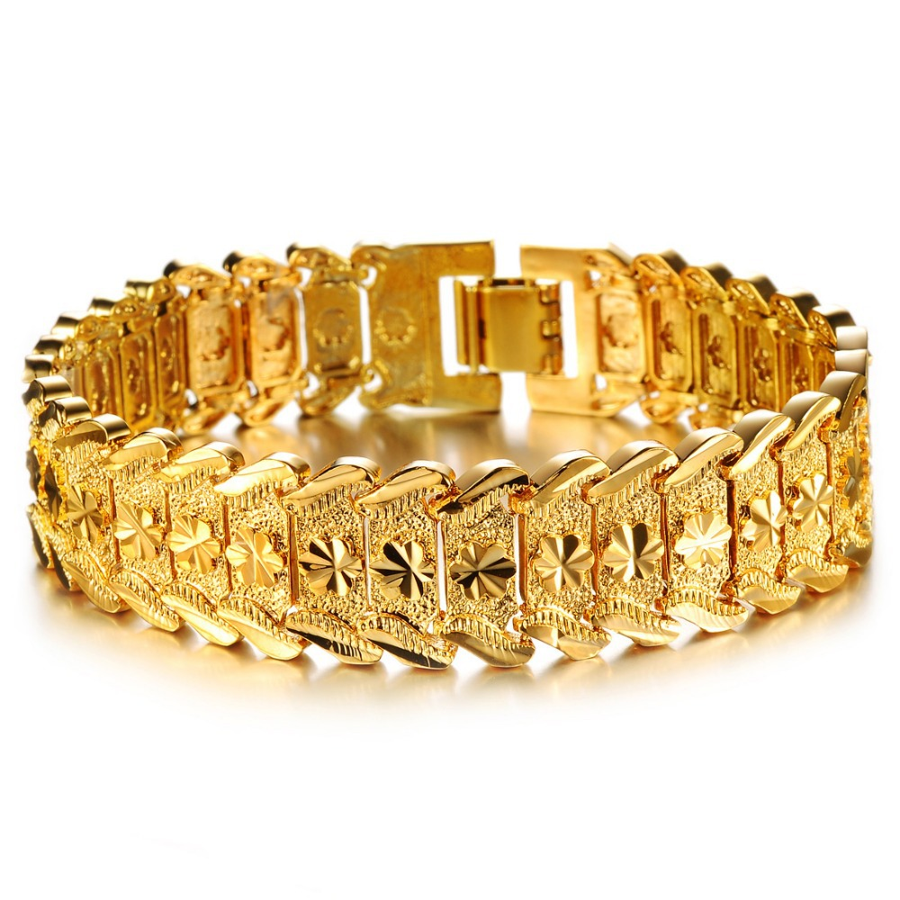 OPK JEWELRY Luxury 18K Real Gold plated Bracelet Bangle Wide Surface 17mm Attractive Men Jewelry Top