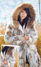 2015 New Women Fashion Rabbit Fur Coat With Raccoon Fur Hood Jacket Female Winter Fur Jacket Warm Winter Outerwear(China (Mainland))