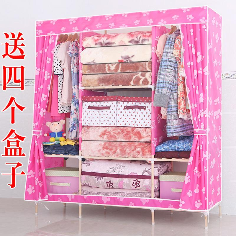 Super simple wardrobe wood cloth folding cabinet assembly Oxford cloth dormitory storage closet(China (Mainland))