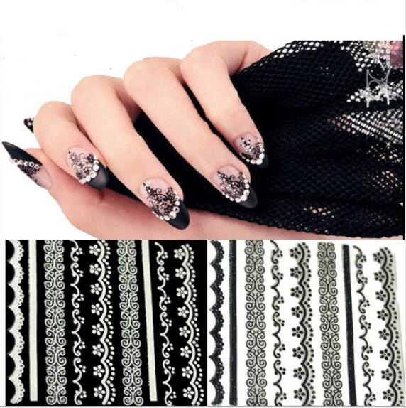 Y28 2016 New 3D Black White Lace Design Nail Art Stickers Decals For Nail Tips Decoration Tool Beauty Stickers Ongles(China (Mainland))
