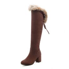 Gdgydh 2019 Neue Winter Stiefel Frauen Echtpelz Große Größe Schnee Stiefel Damen Schwarz Quadratische Fersen Frau Schuhe Über die knie Stiefel(China)