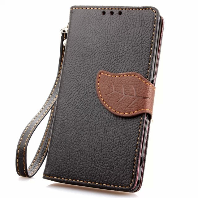 Fashion Leaf Leather Protection case For Sony Xperia Z1 mini Wallet Style Flip Stand Phone Back Cover with Card Slot(China (Mainland))