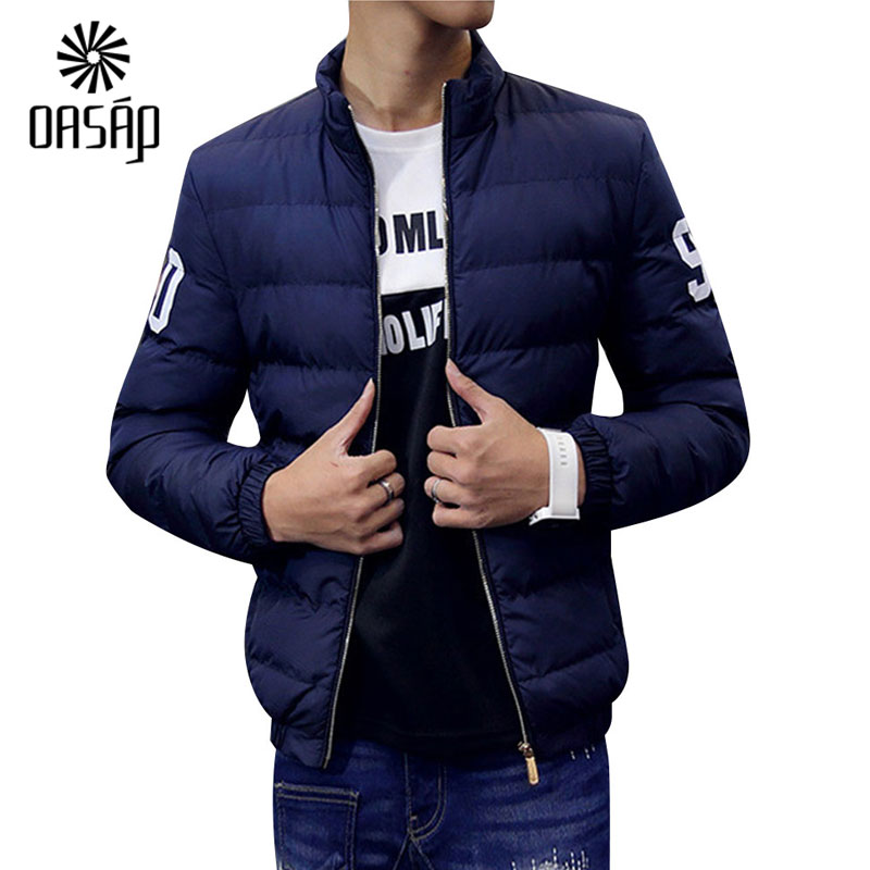 OASAP 2015 New Fashion Men Jackets Winter Printed Mock Neck Cotton Padded Jacket For Men Male ...