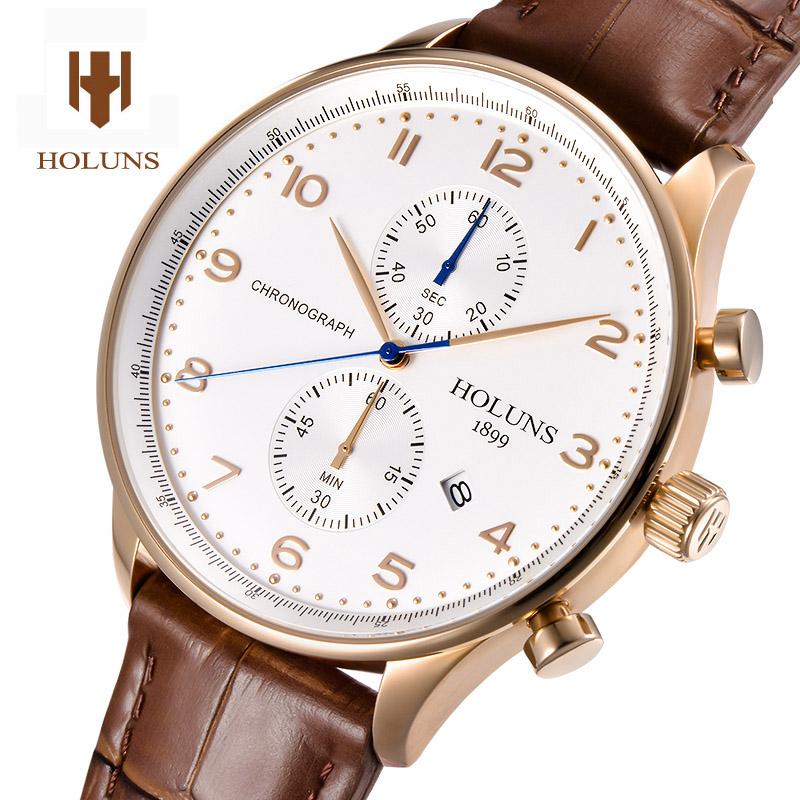 HOLUNS Luxury Mens  Watch Quartz Watch Waterproof leather strap Chronograph stainless steel  sport watch<br><br>Aliexpress