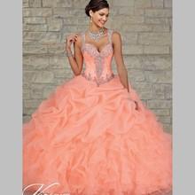 2015 New Organza volants robe de bal robes de Quinceanera pour 15 anos mascarade robes bon marché robes de15 FHJ01(China (Mainland))