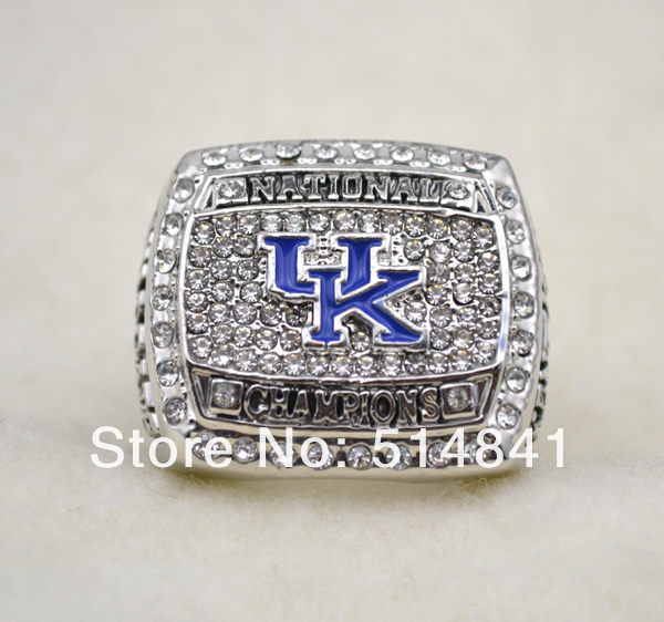 Free Shipping! Rhodium Plated Replica 2012 kentucky wildcats championship ring for gift(China (Mainland))