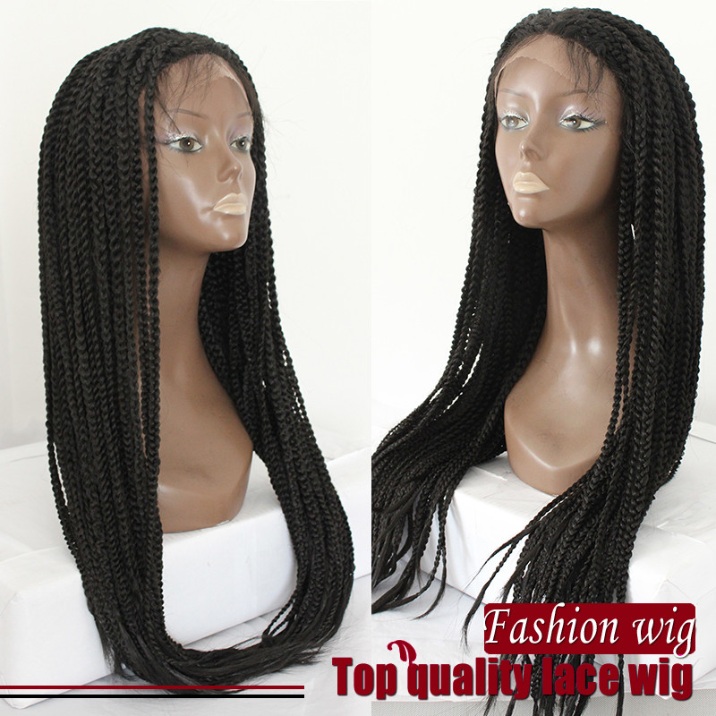 braided lace front wigs Box braide synthetic no shedding no tangle synthetic lace front wig for african american women
