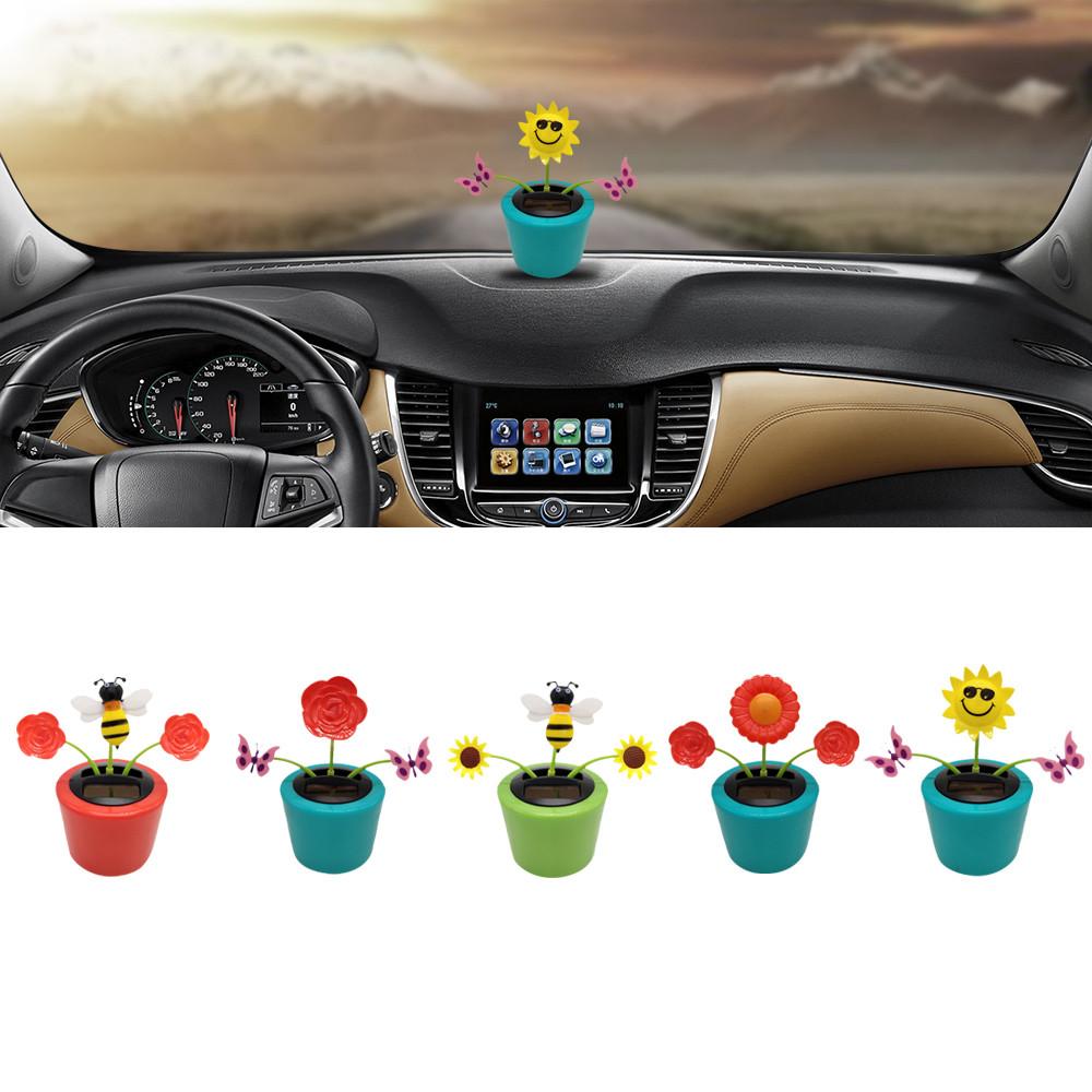 4PC New Plant PVC Car Dashboard Bobbing Flower Solar Toy