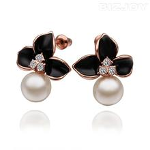 Lovely Design Bizjoy Stylish Jewelry White Pearl Crystal Black Flowery Earrings Decoration For Women Grace At a Discount(China (Mainland))