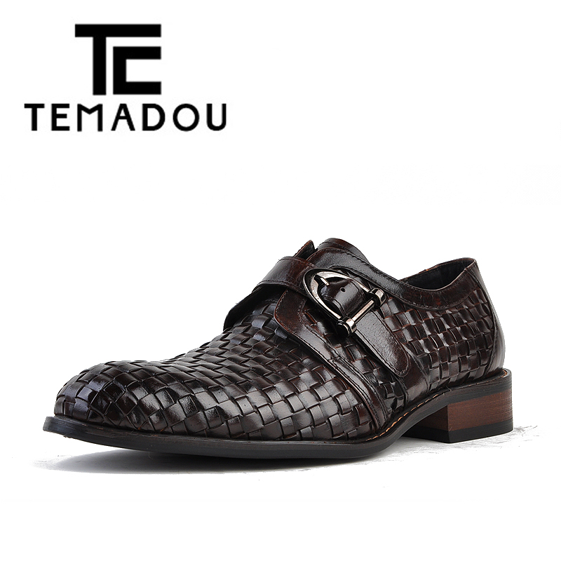 TEMADOU mans genuine leather party shoes man woven leather fashion shoes cow skin buckle leather formal men shoes (S103/2-3)(China (Mainland))