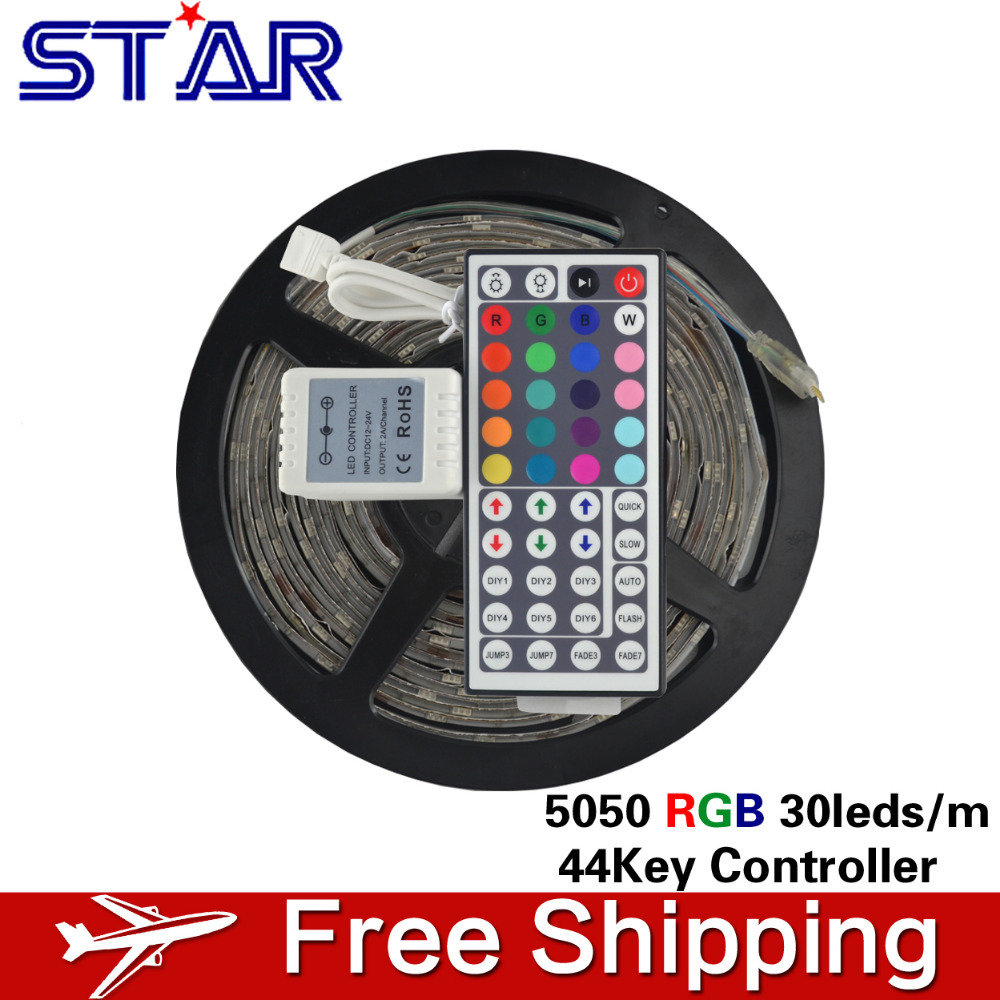 5m RGB LED Strip 5050 SMD Waterproof 12V 30LEDs/m LED Strip Light Ledstrip Rope Lamp Tape Ribbon + 44 Key RGB Remote Controller(China (Mainland))