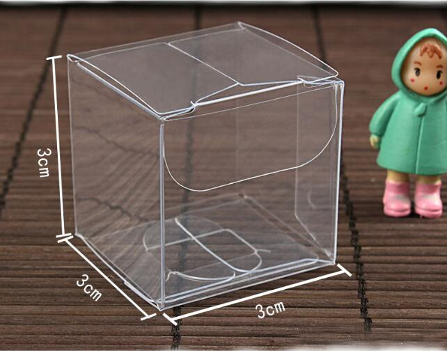 50pcs 3*3*3cm Transparent waterproof PVC boxes Packaging small plastic Clear box storage for food/jewelry/Candy/Gift/cosmetics(China (Mainland))