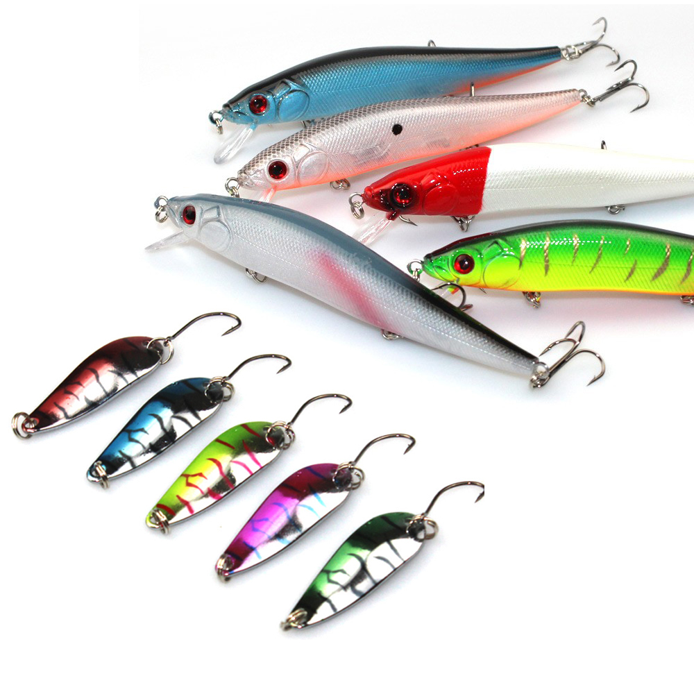 2015 RU New Arrive Minnow and spoon Fishing lure kit tackle Artificial Bait Plastic metal Hard Lure Fishing Bait(China (Mainland))
