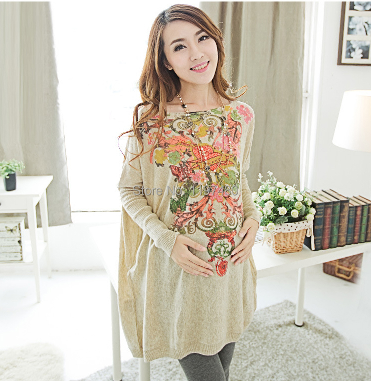 Spring Autumn Clothes For Pregnant Women Maternity Sweater Pullover Casual Printed Long Sleeve Knitted Tops Plus Size(China (Mainland))