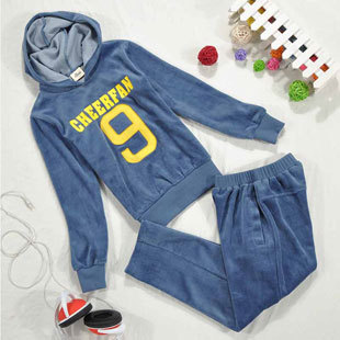 Kids Velvet Fashion Clothing Suits for Boys Hooded Coats with Letter Print & Casual Pants, Free Shipping A3116(China (Mainland))