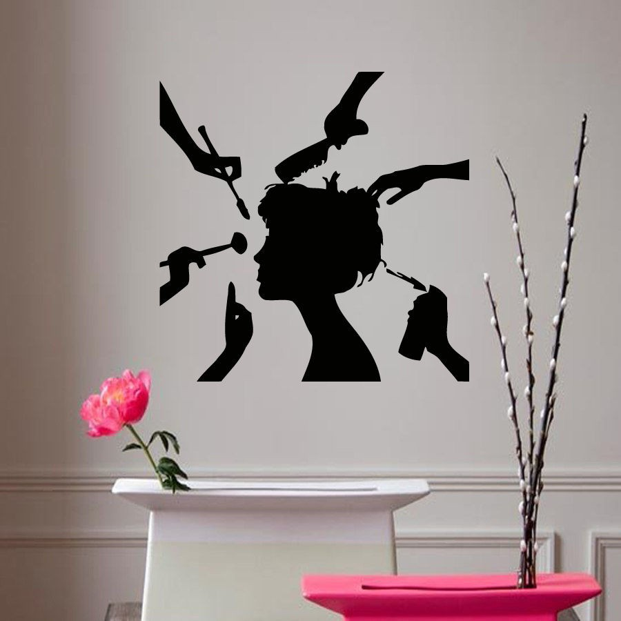Vinyl sticker decal girl make up hair style beauty salon decor hair shop mura - Decoration mural salon ...