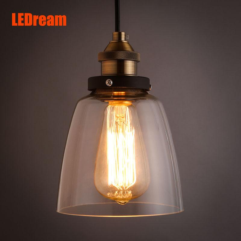 LEDream Grobal Hot Sale Minimalist Cord Pendant lights American Loft Vintage Glass Pendant Lamps Restaurant Bar Glass Abajur(China (Mainland))