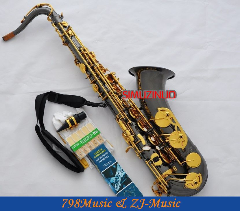 professional new black Nickel Gold tenor Saxophone with Sax Case<br><br>Aliexpress