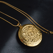 PATICO Luxury Gold Jewelry Cute Round Memory Photo Frame Case Pendant Elegant Hollow Flower Design Long Chain Necklace For Women(China (Mainland))