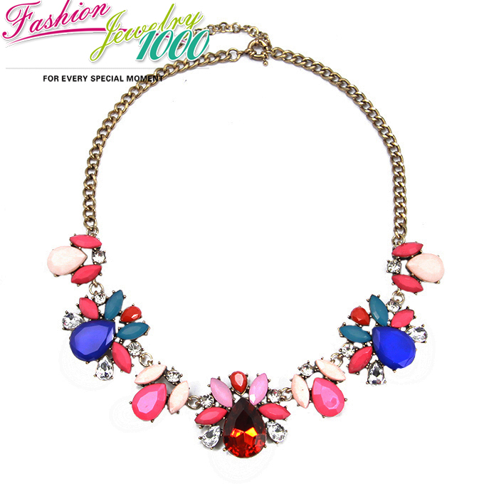 New vintage multi color stone flower chunky statement for Costume jewelry for evening gowns