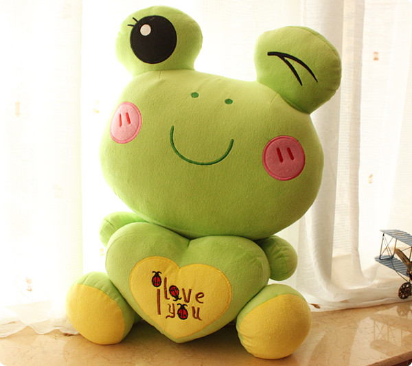 Cartoon toy frogs doll Soft love frog pillow 2014 New design frog cushion Stuffed animal plush doll toys Free shipping(China (Mainland))