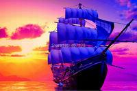 Товары для Вышивки и Шитья CX DIY unfinish Color the sailboat