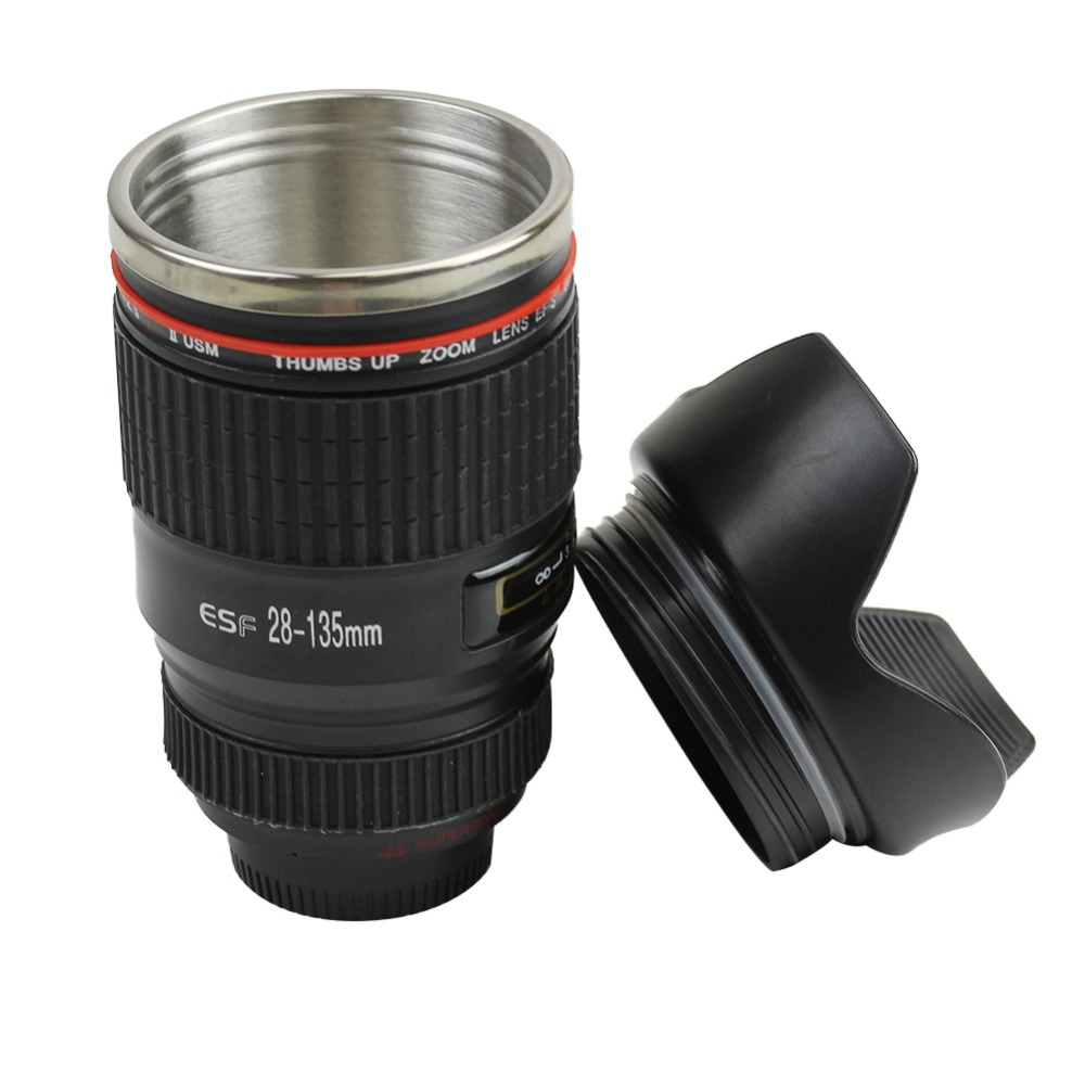 New stainless steel black camera lens cup travel mug for Photo lens coffee cup