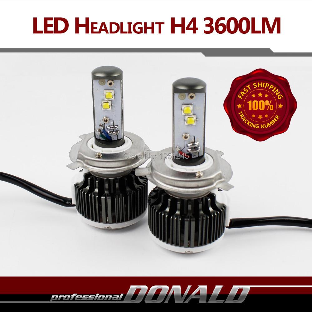 UPGRADE!! 2015 Plug&Play 80W/Set 7200LM/Set HI/LO Beam H4 H4-3 HB2 9003 CREE LED Kit DRL Fog Headlight 6000K White Bulb W/ Fans(China (Mainland))