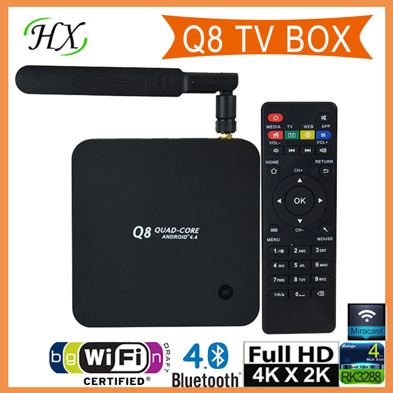 New Q8 Android TV Box RK3288 Quad Core 1.8GHz 2G/8G XBMC HDMI 4K*2K H.265 2.4GHz/5GHz Dual WiFi OTG USB Smart TV Box(China (Mainland))