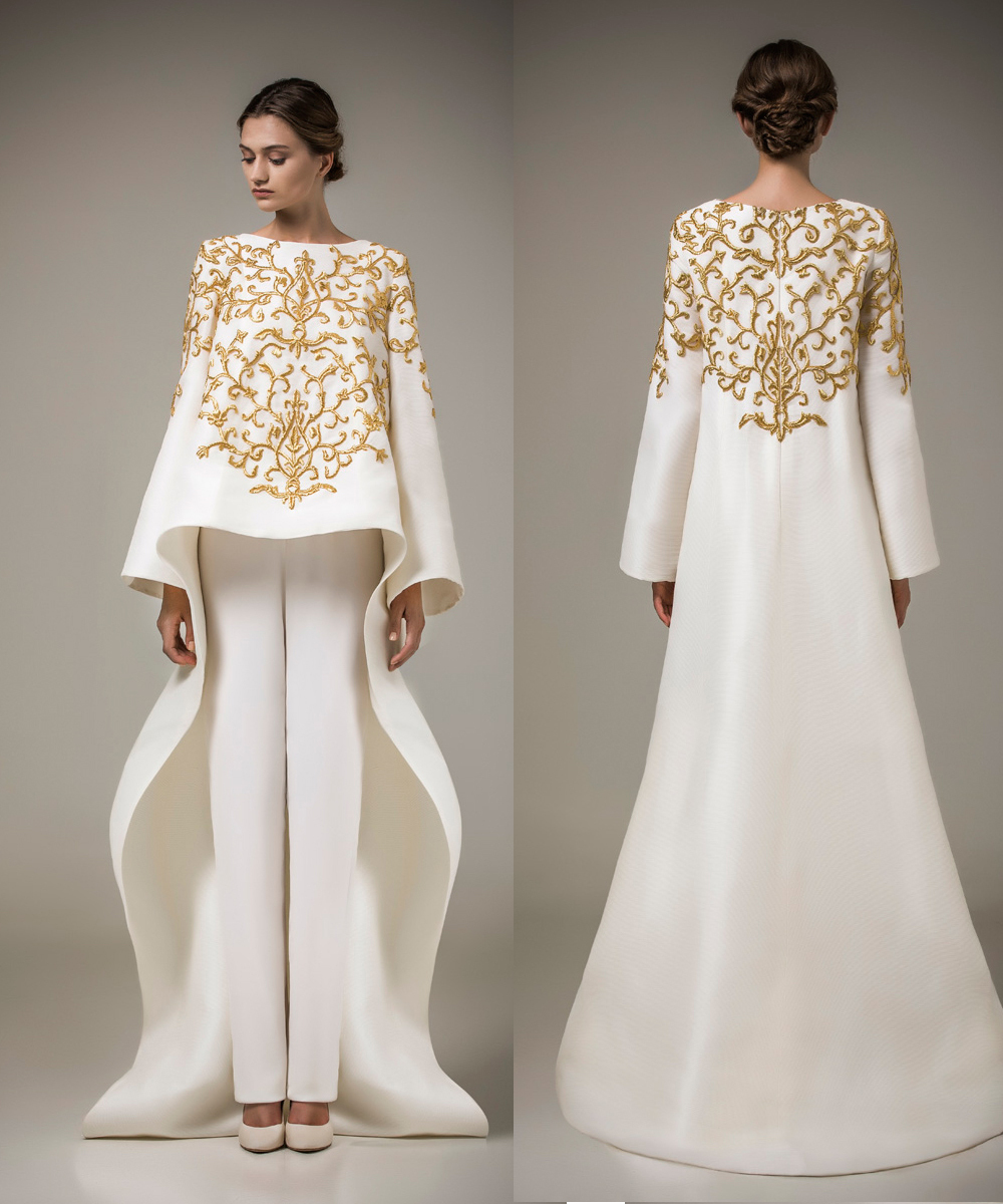 New Designer Ashi Studio Gold Embroidery Evening Dresses 2015 Party Dress White Satin Pattern Custom Made Formal Dresses(China (Mainland))