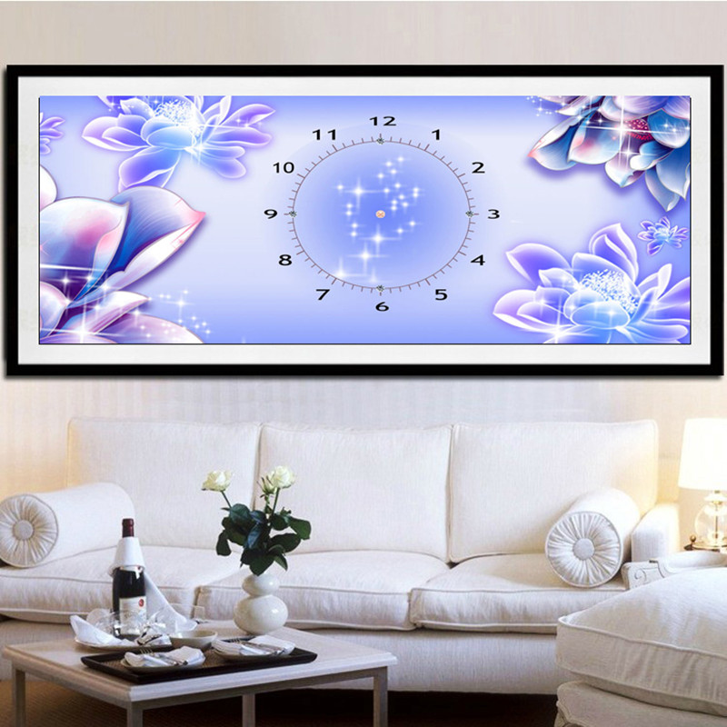 new Clock purple Flower 5d Diy diamond painting kits Round embroidery living room decoration dill canvas cross stitch picture(China (Mainland))