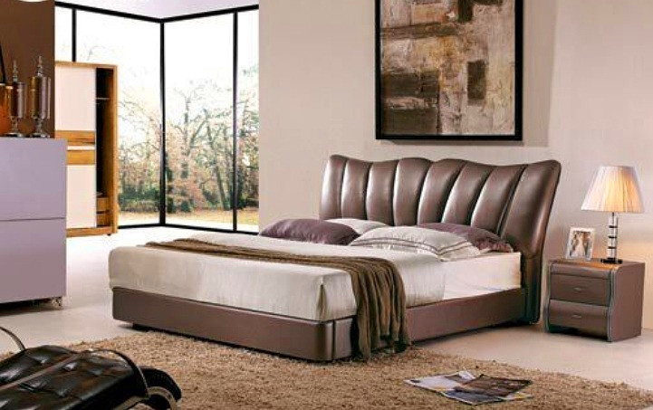 modern genuine leather bed brown bedroom furniture made in China alibaba contemporary high headboard(China (Mainland))