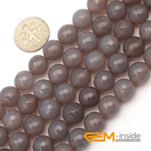 """Buy 8mm 10mm round faceted gray carnelia n stone beads natural stone beads DIY loose beads jewelry making beads strand 15 """" Store) for $4.77 in AliExpress store"""
