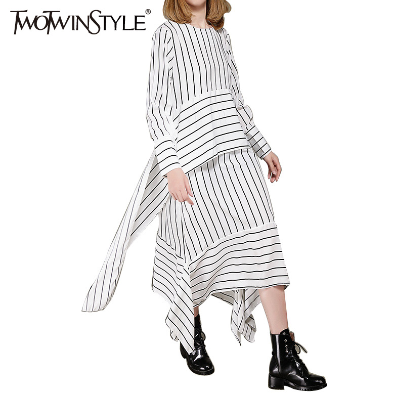 TWOTWINSTYLE 2017 Women Striped Lace Midi Dresses Long Sleeve Flare Asymmetrical Vintage Female Tunic Clothes Korean Big Size