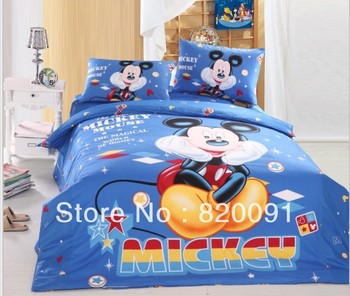 Hot ! Acting Cute Mickey Mouse Bedlinen Duvet Cover Set 3 or 4pcs Suit for Twin/Full/Queen Bed Comforter,Blue Beds for Children