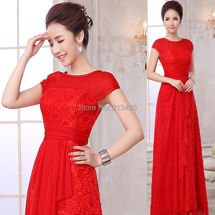 womens elegant red chiffon bridal evening gown engagement party dresses women sexy long fitted dress red wedding party 2015 2132(China (Mainland))