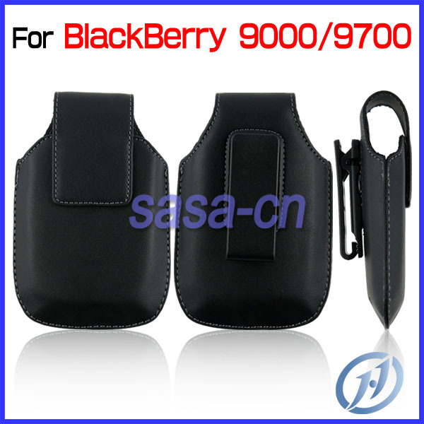 Waist Hanged PU Leather Belt Clip Flip Holster Pouch Case for Blackberry 9000 9700 free shipping(China (Mainland))