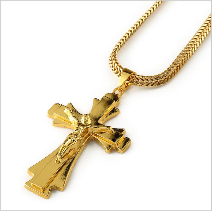 2015 Fashion 18K Real Gold Plated Cross Jesus Pendant Long Necklace Men Gold Chain Hip Hop Statement Cross Necklace(China (Mainland))