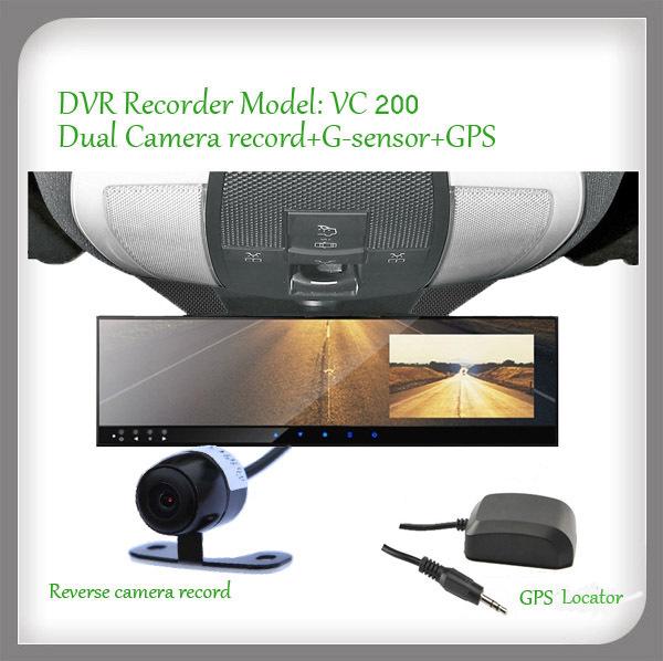 4.3inch monitor Dual camera car DVR event recorder with G-sensor ( NO GPS Tracker )(China (Mainland))
